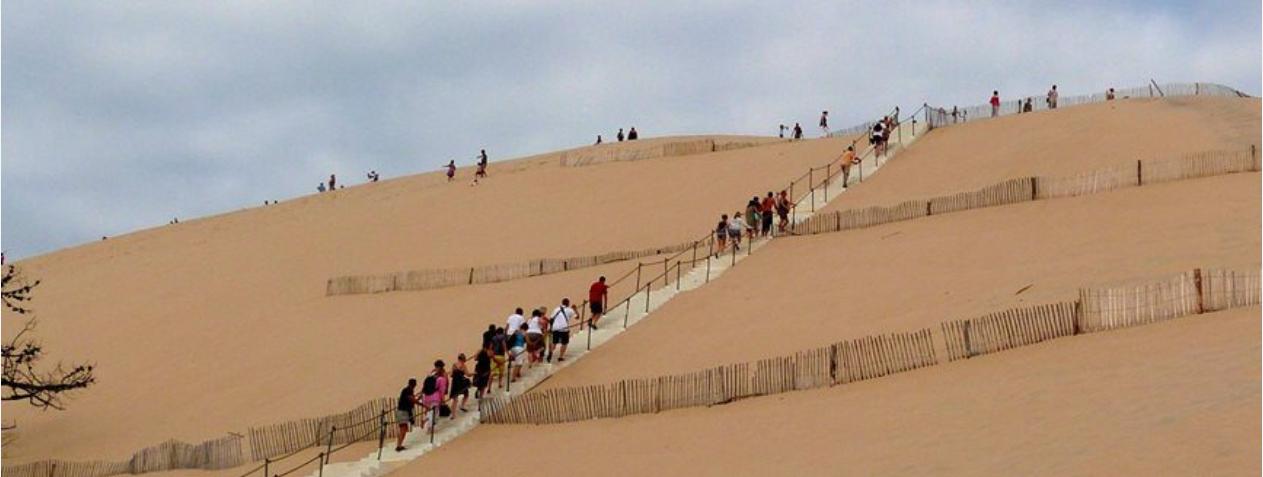 L'escalier de la dune du Pilat, remballé pour l'hiver